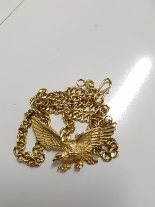 Eagle necklace in 18 kt (750) - 43.26 g - (approx. 42 cm / 21 cm on both sides, measured excluding the pendant)