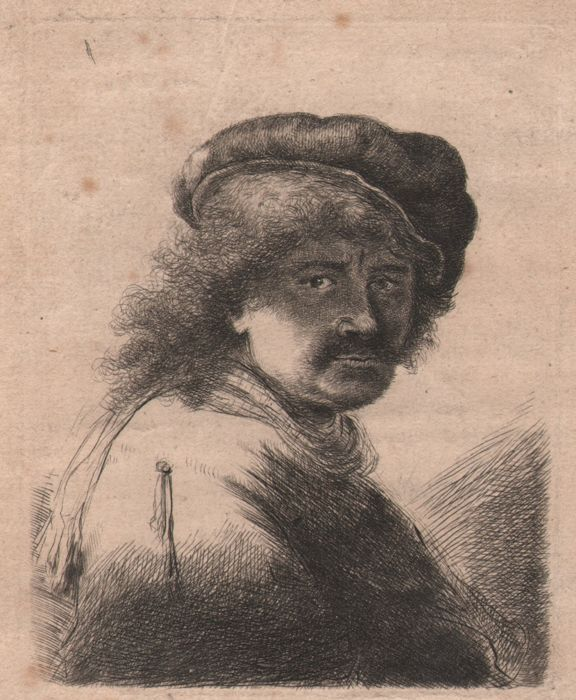 Rembrandt (1606-1669)  - Selfportrait of Rembrandt with cap and scarf