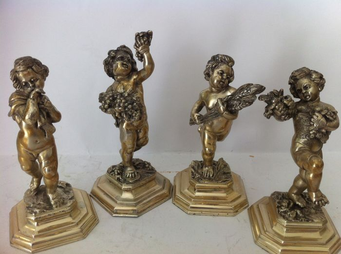 """""""The Four Seasons"""" sculptures - .800 silver - Boggiali - Italy - end of XIX, beginning of the 20th century"""