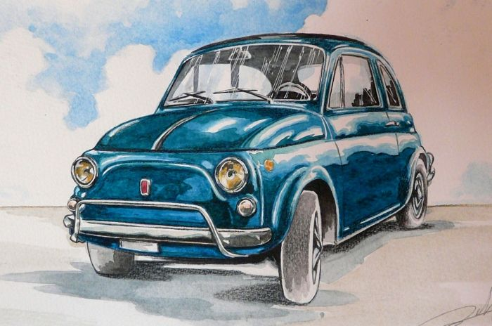 Original Drawing By Federico De Muro Fiat 500 L 2018 1 Items