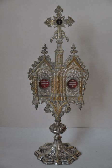 Large Reliquary Holy Cross And Four Apostles Silver Plated Bronze Gothic Style