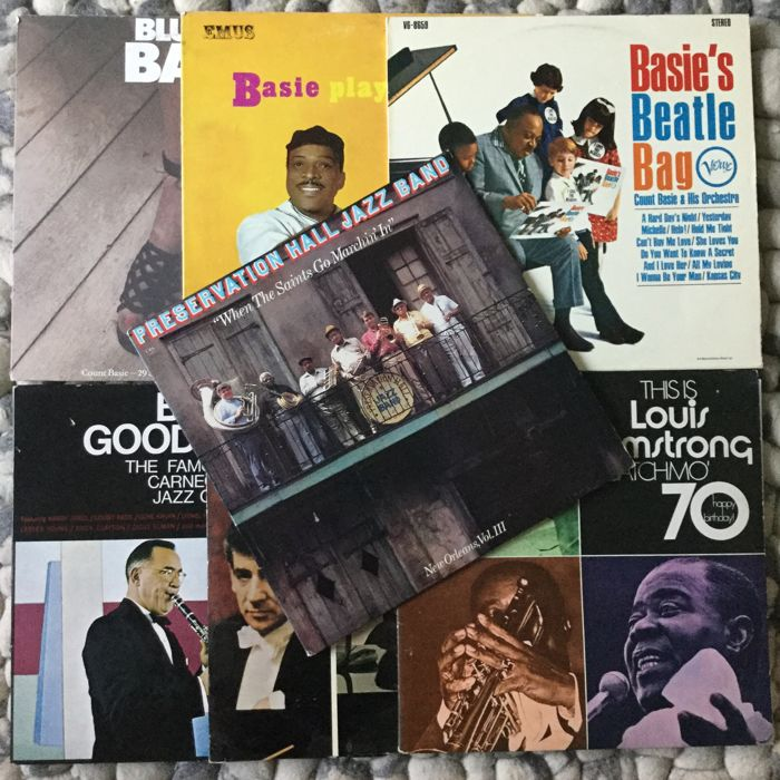 Lot of 7 great jazz albums: Count Basie (3), Preservation Hall Jazz Band, Satchmo, Dave Brubeck, Benny Goodman