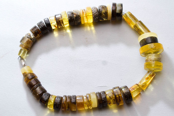 Vintage Baltic Amber necklace from raw Amber, in lemon, honey butterscotch colour, transparent 85 gram