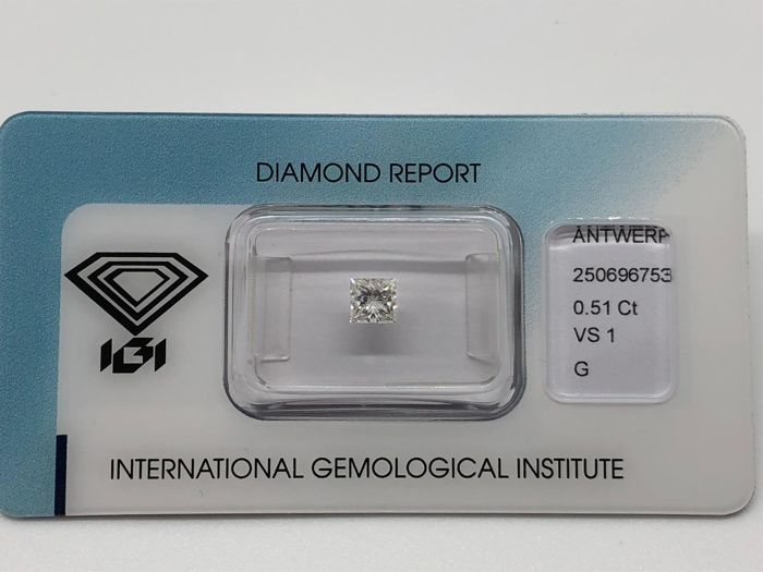 1 pcs Diamant - 0.51 ct - Prinzess - G - VS1