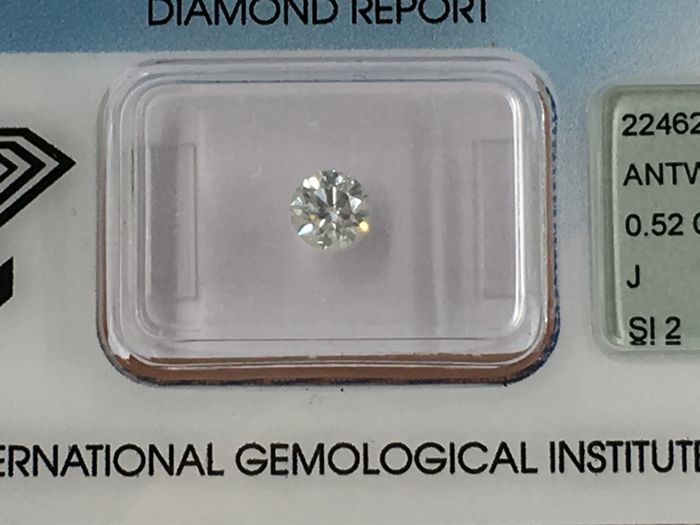 1 pcs Diamant - 0.52 ct - Briljant - J - SI2