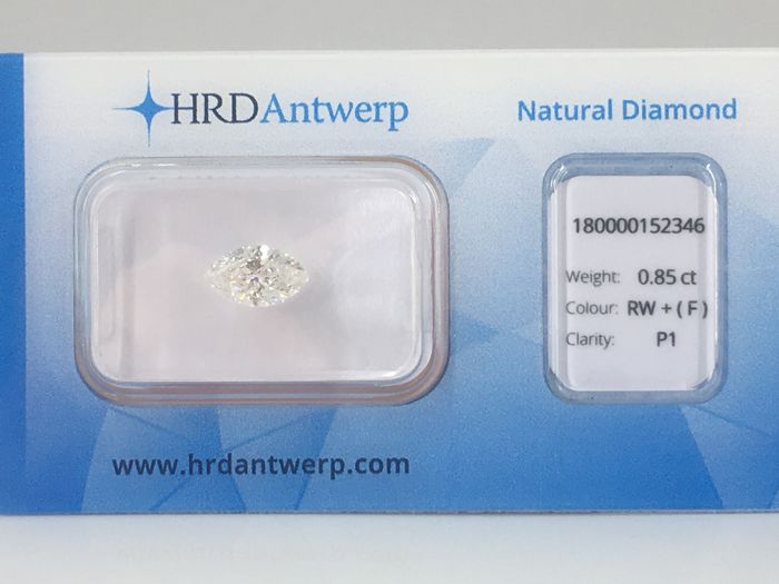 1 pcs Diamond - 0.85 ct - Marchiză - F - I1