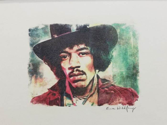 JIMI HENDRIX - Original artwork 29,7 x42 cm - Oil pastels on an artist cardboard - Artist Emma Wildfang
