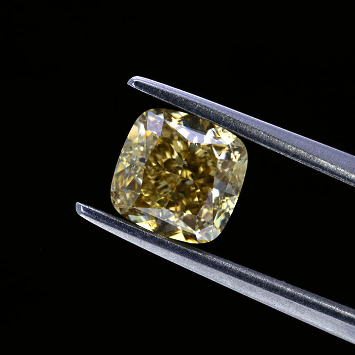 2.01 Ct. Natural Fancy Brown Yellow Cushion Shape Diamond.