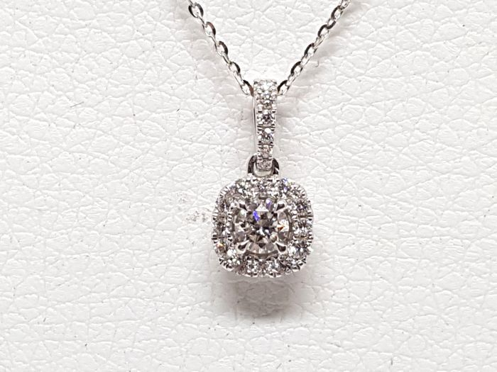 18 kt. White gold - Necklace with pendant - 0.83 ct Diamond