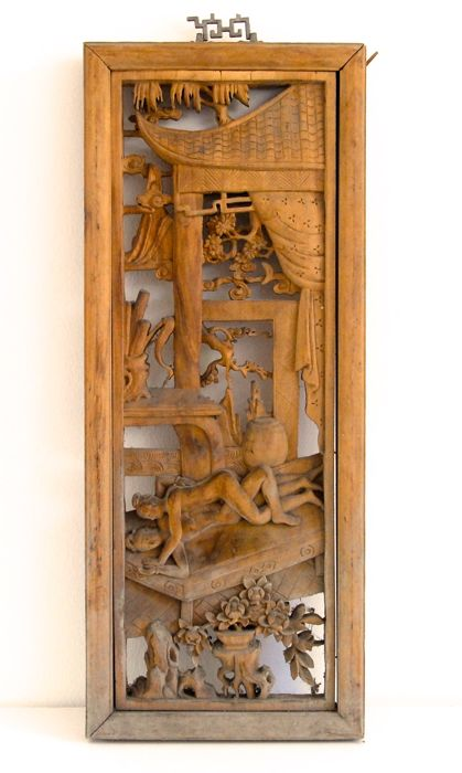 Carved wooden panel - China - mid 20th century