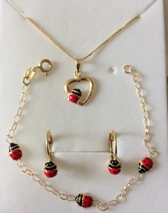 Set of necklace, earrings, bracelet with ladybirds in 18 kt yellow gold - No reserve