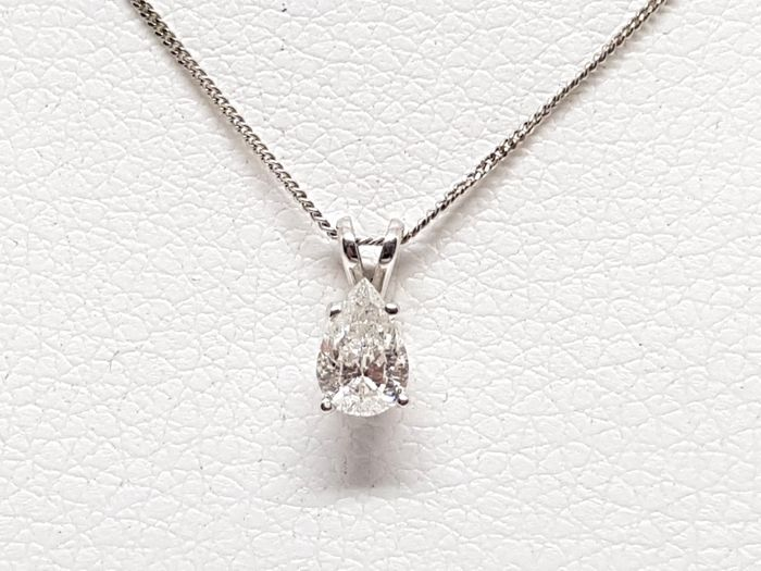 18 kt. White gold - Necklace with pendant - 0.58 ct Diamond