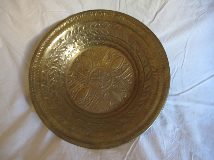 Wrought copper dish signed Aikina Amadu Kang - Nigeria