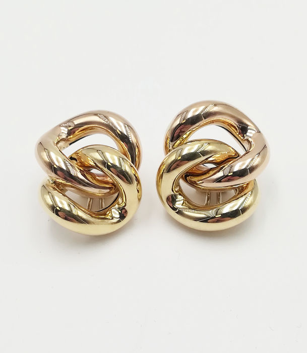 Women's earrings in 18 kt yellow and rose gold, length: 3.00 cm, total weight: 17.06 g