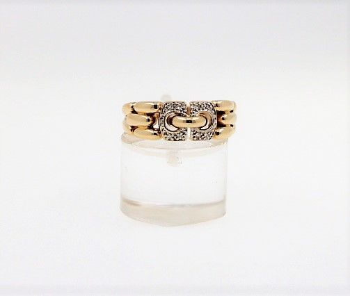 14 kt yellow gold women's ring with diamonds weighing 0.10 ct in total - ring size: 56 EU - free resizing