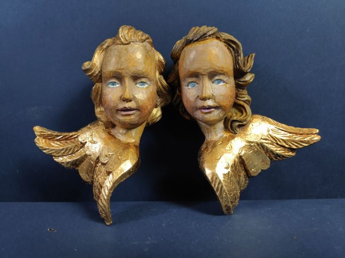 Couple Carved Angels - 2 - wood