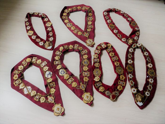 Officer necklaces - Freemasonry - Metal, hand enamelled bronze