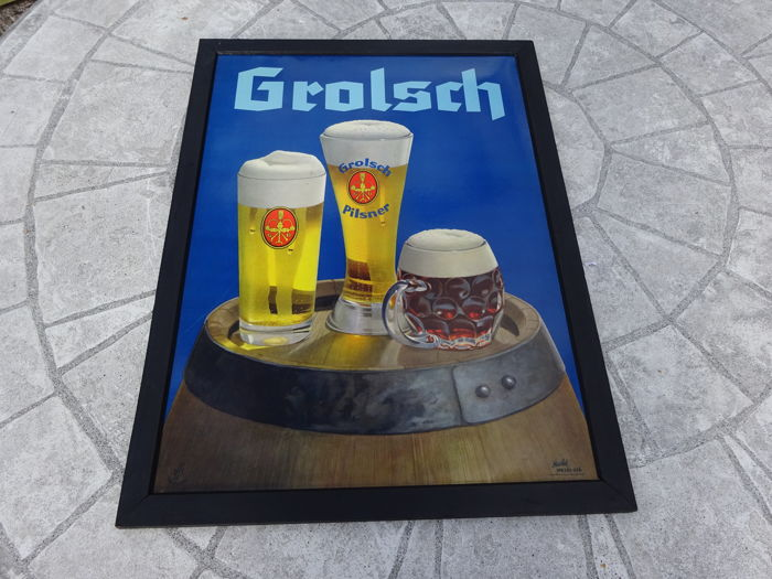 Grolsch advertising sign - plastic in wood