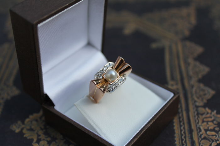 Tank ring from the 50s in rose gold
