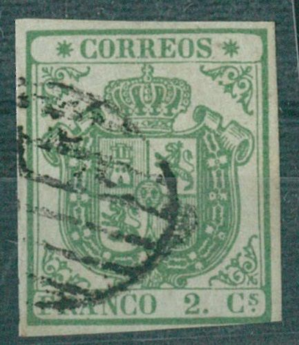 Spain 1854 - Coat of arms of Spain, thick paper. CEM certificate - Edifil 32A