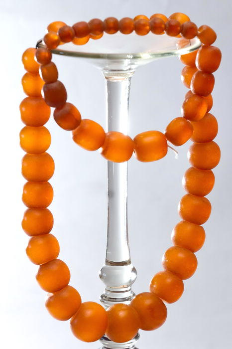 Vintage Baltic amber set of bracelet and necklace yellow color, weight: 70 gram