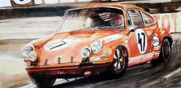 Original watercolor by Gilberto Gaspar  - Porsche 911 Carrera RS - 2010 (1 objetos)