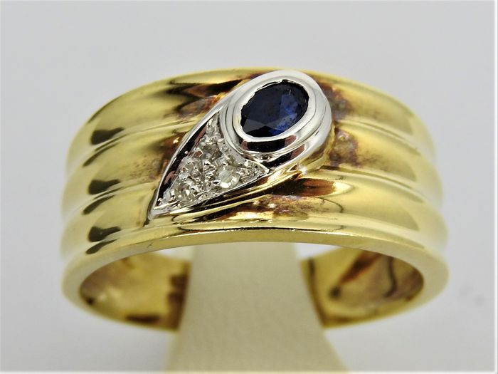 14 kt bicolour gold ring with approx. 0.03 ct diamond and approx. 0.15 ct sapphire - size 17 or 53 - 5 grams