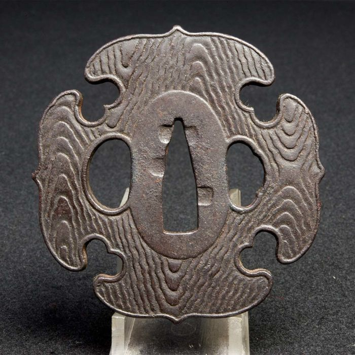 Woodgrain pattern tsuba (mokume) - Japan - 19th century (late Edo/Meiji period)