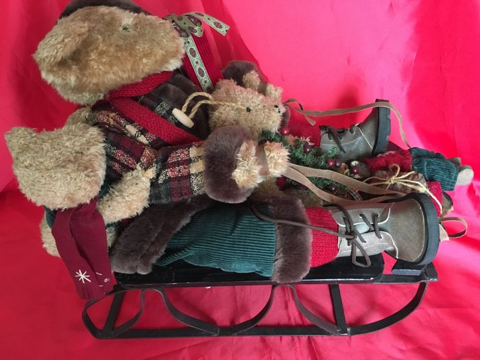 Christmas Bears in his Sleigh 65 cm - Structure Metal Wood and Textiles
