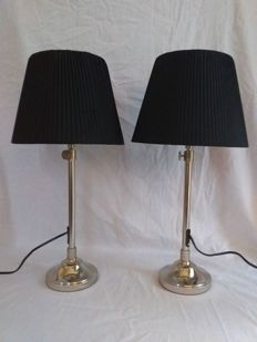Pair Argentinian stainless pair table lamps with lift - Steel (stainless)