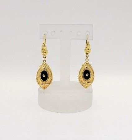 8 kt yellow gold antique earrings with onyx - size: 11.50 x 40 mm