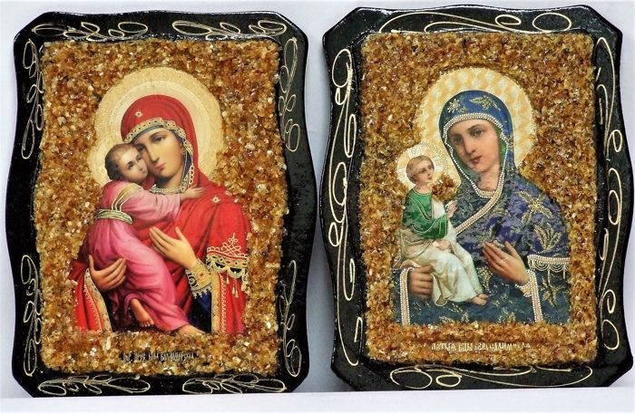 Orthodox Russian Icons in a sprinkle of amber Icon - Mother of God - Wood- Oak - Contemporary
