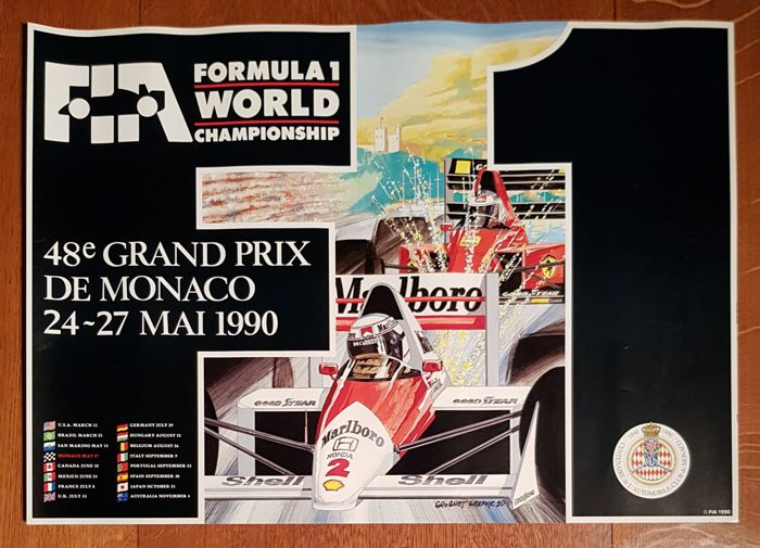 GRAND PRIX OF MONACO Formula 1 official poster - Copy not intended for sale - 1990