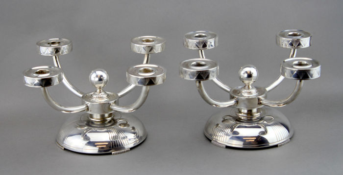 Candelabrum, A pair of antique silver candelabras (2) - .830 silver - Thorvald Marthinsen - Norway - Early 20th century
