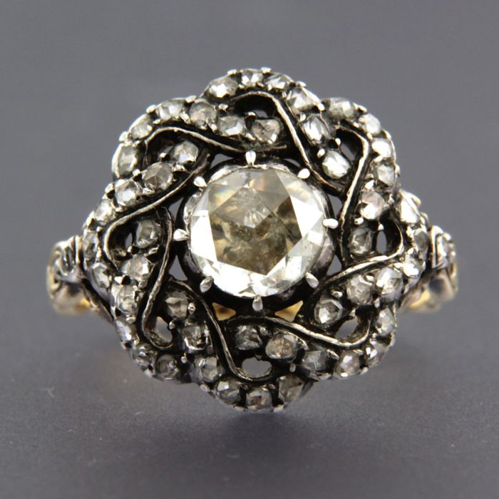 Anillo - Oro, Plata - 1 ct - Diamante