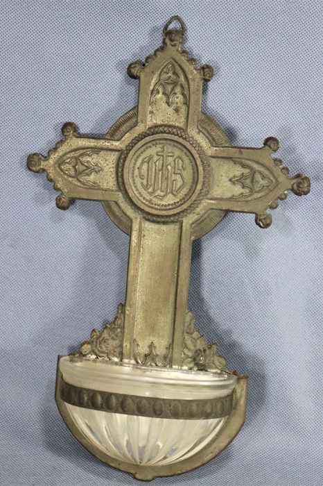 cross with a holy water sink - metal and glass