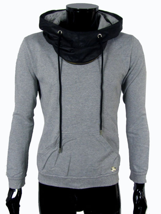 Frankie Morello Milan  - Faux Leather Hooded Sweater