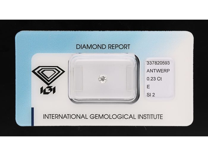 0.23 ct round brilliant cut, E SI2