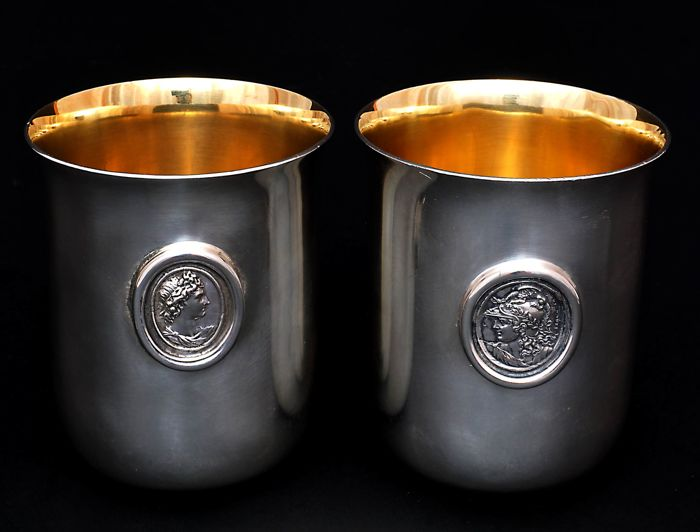 Pair Large Beakers with Medallions - .925 silver