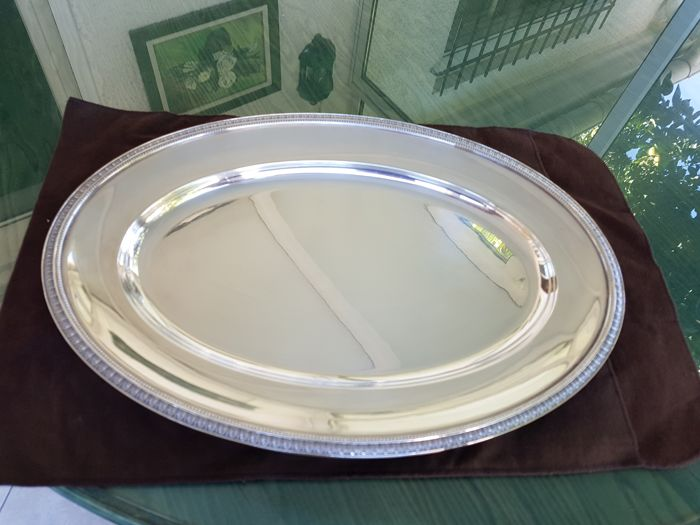 """large """"Malmaison"""" serving platter, 45 cm, from Christofle - silver plated metal"""