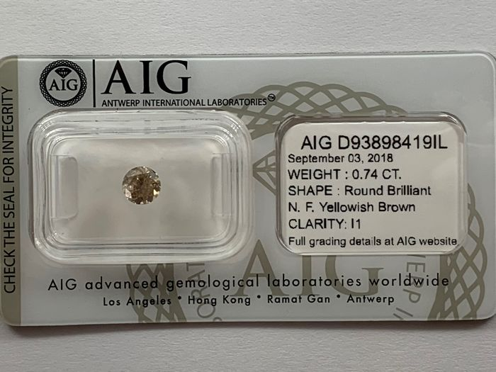 0.74 CT- Natural Fancy Yellowish Brown - I1 - NO RESERVE