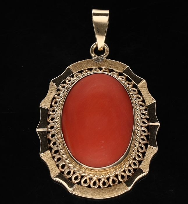 14 kt - Red coral women's pendant set with a red coral of approx. 1.7 x 1.3 cm wide - Length 3.5 cm x 2.4 cm wide