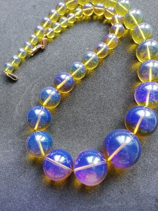 Dominican blue amber gold necklace 76,8 gr