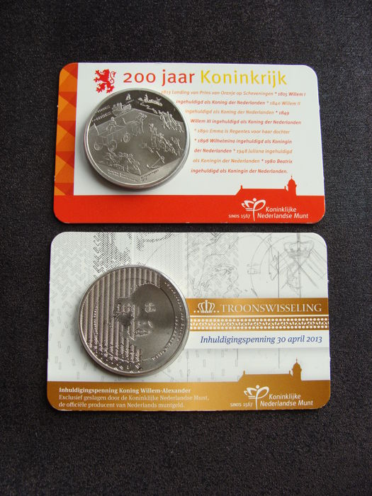 The Netherlands - Penningen 2013 '200 jaar Koninkrijk' + 'Inhuldiging' in coincards