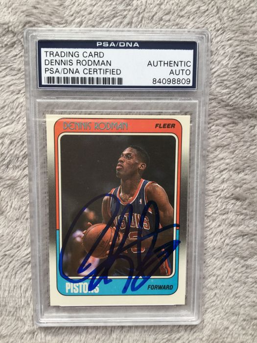 1988 - Detroit card signed by Dennis Rodman with PSA COA