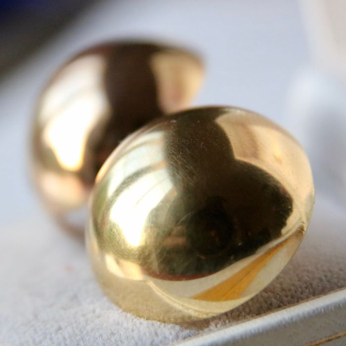 "Pair of extra large vintage golden ball earrings with brand signs ""FB"" approx. ø 21.2mm, timeless. Wonderful state."