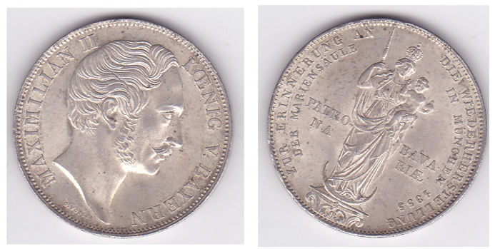 Germany - Bavaria - 2  Gulden 1855 - Silver