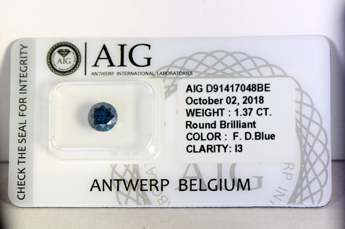 AIG Antwerp Sealed - Fancy Deep Blue Diamond (Colour Treated) - 1.37 ct