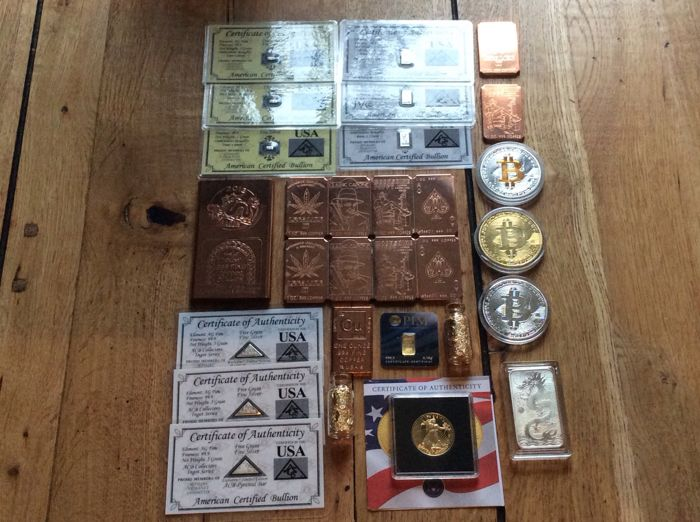 Precious metals collectors lot perth mint silver A.B.C silvercard 99.9// double eagle coin gold cu-copperbar8xfour-style/copperbar gold-vials/certificatie/serialnumber.