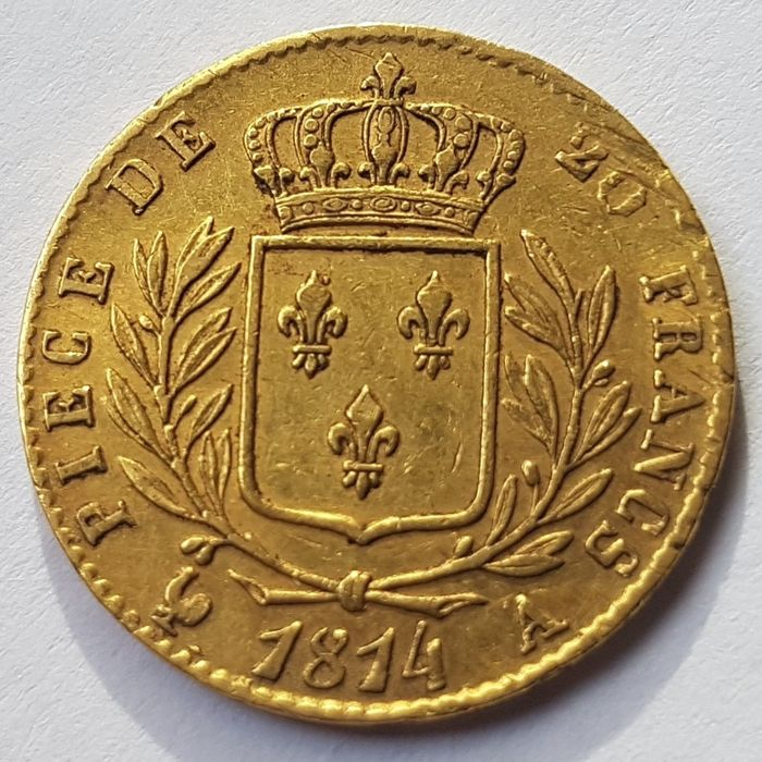 France - 20 Francs 1814A Louis XVIII - Gold